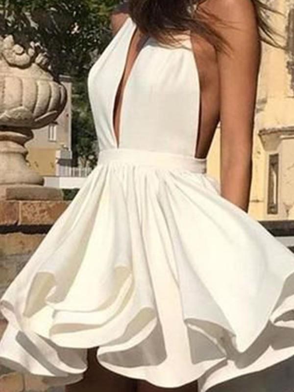Cheerful Spirit Princess Style Chiffon Ruffles Halter Short/Mini Homecoming Dresses