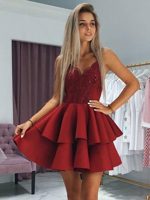 Too Much Fun Princess Style Satin Ruffles Spaghetti Straps Short/Mini Homecoming Dresses