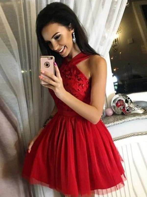 Dancing Queen Princess Style Tulle Paillette Halter Short/Mini Homecoming Dresses