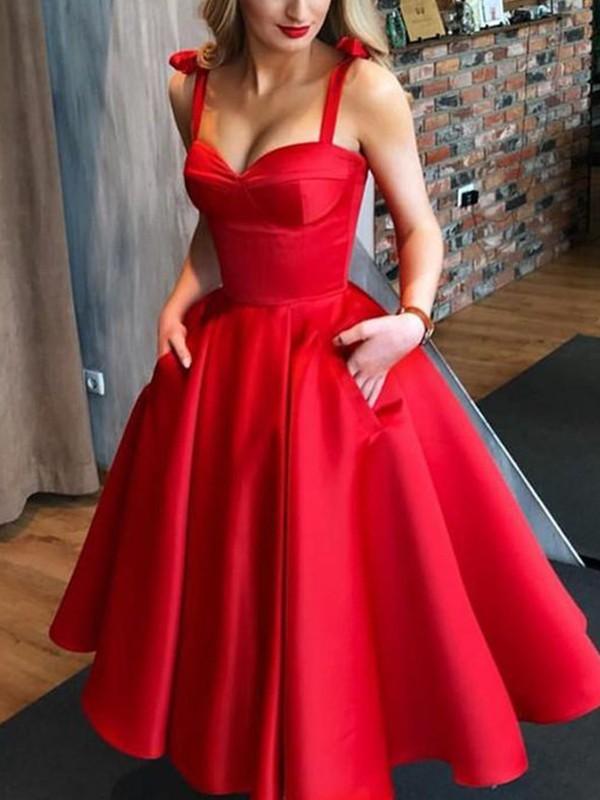 Fresh Picks Princess Style Satin Bowknot Straps Tea-Length Homecoming Dresses