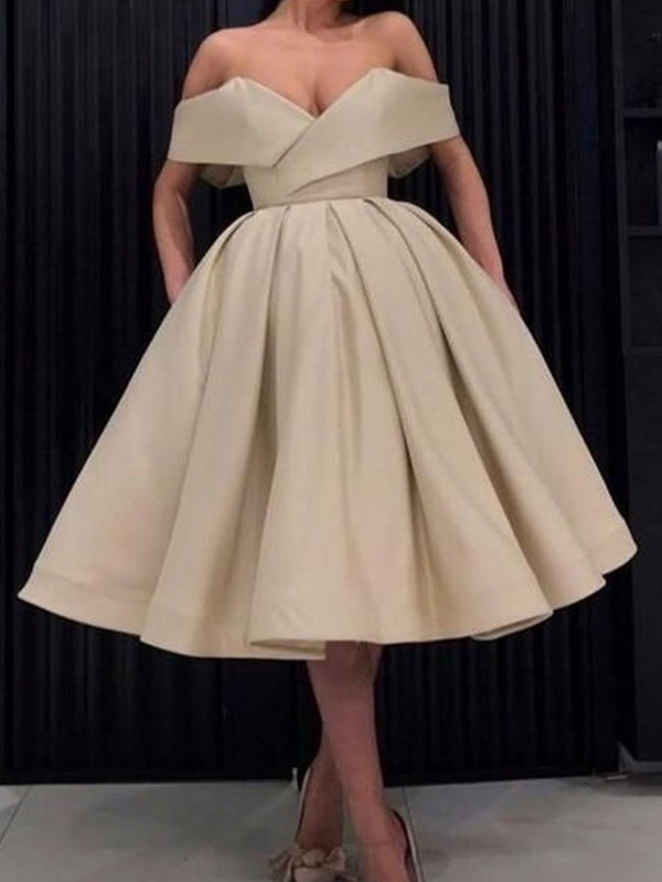 Beautiful You Ball Gown Satin Ruffles Off-the-Shoulder Knee-Length Homecoming Dresses