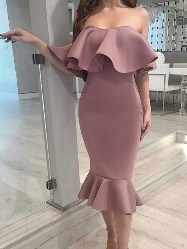Easily Adored Mermaid Style Elastic Woven Satin Ruffles Strapless Tea-Length Homecoming Dresses
