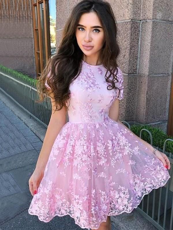Glitz the Spot Princess Style Organza Applique Sheer Neck Sleeveless Short/Mini Homecoming Dresses