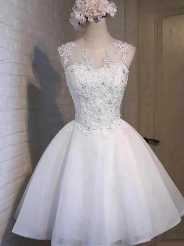 Modern Mood Princess Style Tulle Applique Sheer Neck Sleeveless Short/Mini Homecoming Dresses