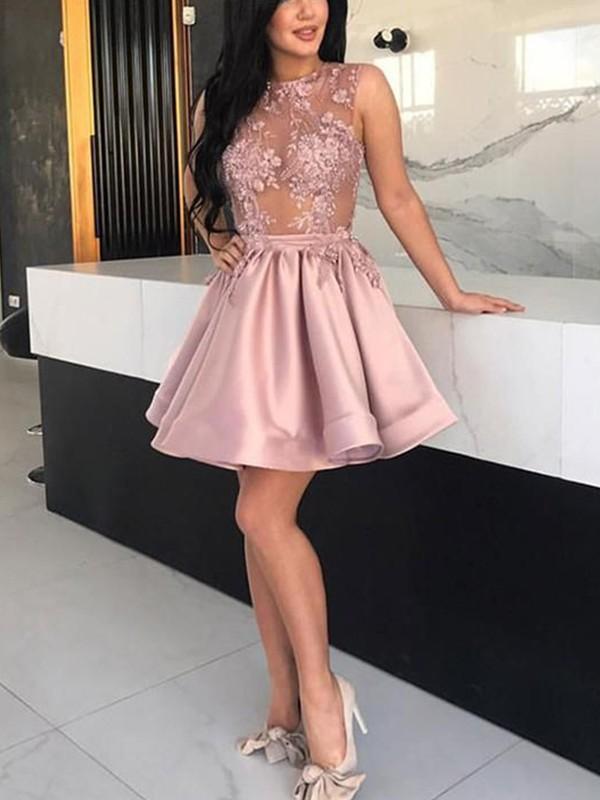 Absolute Lovely Princess Style Satin Applique Sheer Neck Sleeveless Short/Mini Homecoming Dresses