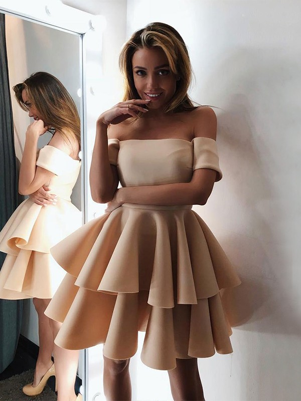 Pleasant Emphasis Princess Style Satin Layers Off-the-Shoulder Sleeveless Short/Mini Homecoming Dresses