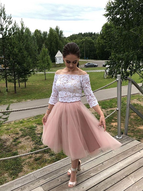 Desired Spotlight Princess Style Tulle Lace Off-the-Shoulder Long Sleeves Tea-Length Homecoming Dresses