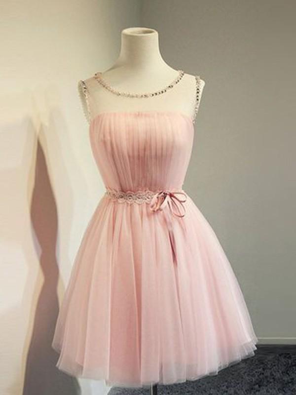 Sweet Sensation Princess Style Tulle Beading Scoop Sleeveless Short/Mini Homecoming Dresses