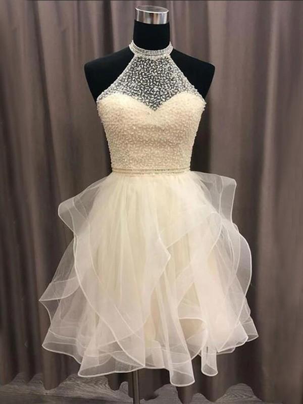 Sweet Sensation A-Line Organza Beading Halter Short Homecoming Dresses