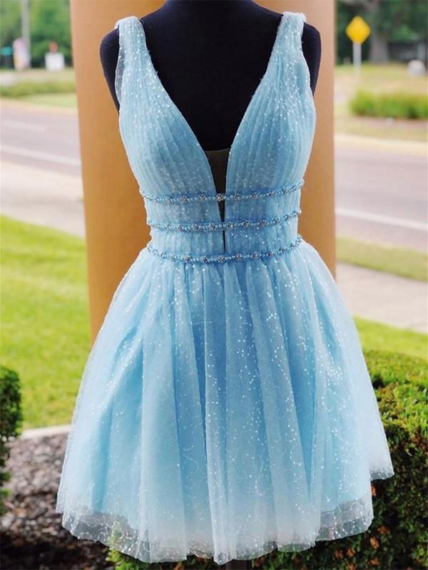 Sweet Sensation A-Line Tulle Beading V-neck Short Homecoming Dresses
