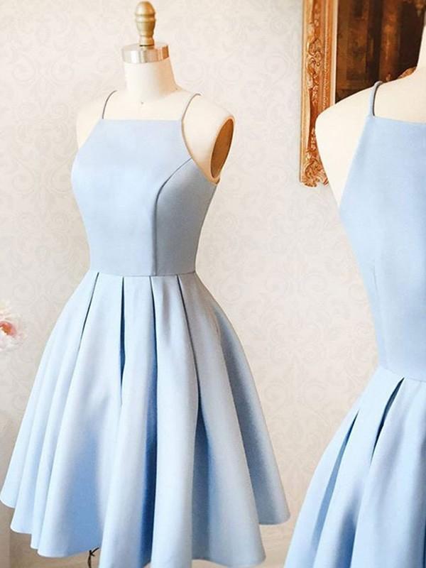 Sweet Sensation A-Line Satin Ruffles Spaghetti Straps Short Homecoming Dresses