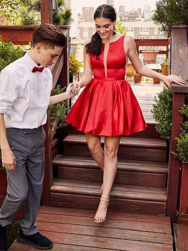 Sweet Sensation A-Line Satin Ruffles Sheer Neck Short Homecoming Dresses