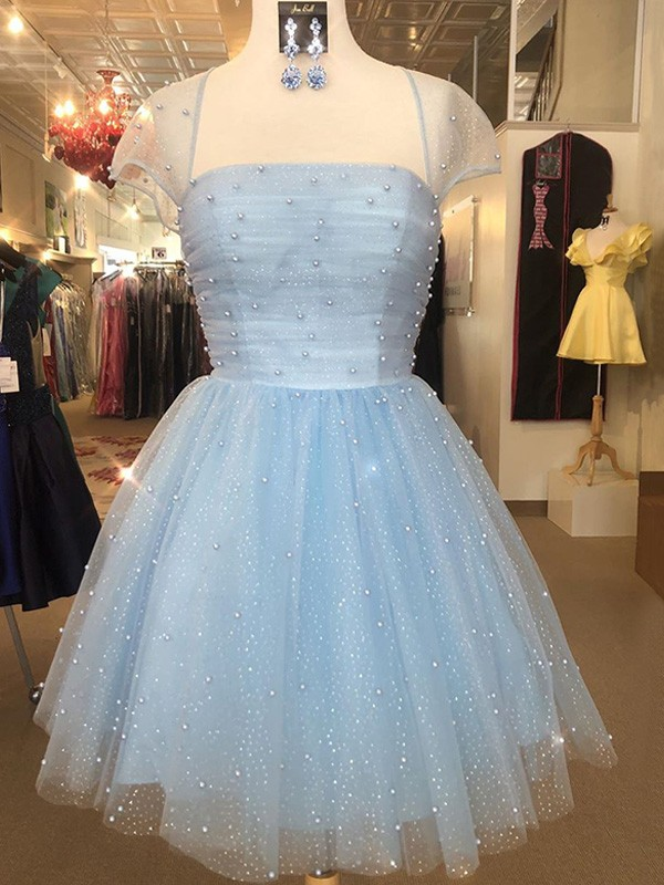 Pretty Looks A-Line Tulle Strapless Short Sleeves Beading Short Homecoming Dresses