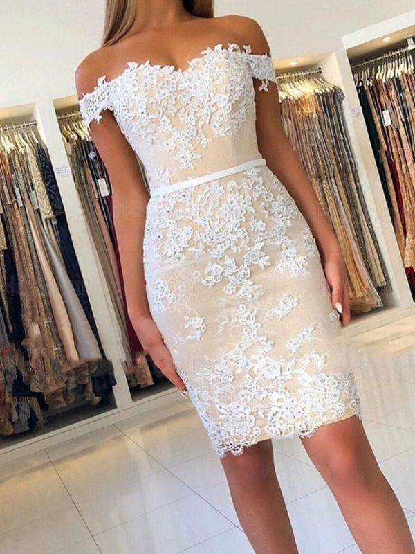 Pretty Looks Sheath Lace Off-the-Shoulder Applique Short Homecoming Dresses