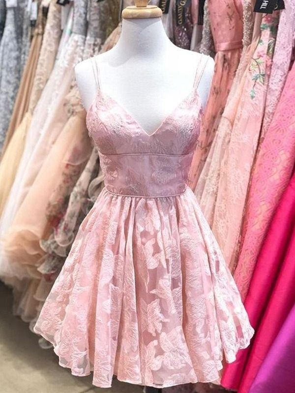 Pretty Looks A-Line Spaghetti Straps Lace Ruffles Short Homecoming Dresses