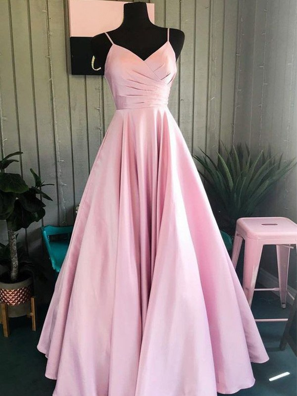 Pretty Looks A-Line Satin Ruched Spaghetti Straps Long Pink Prom Dresses