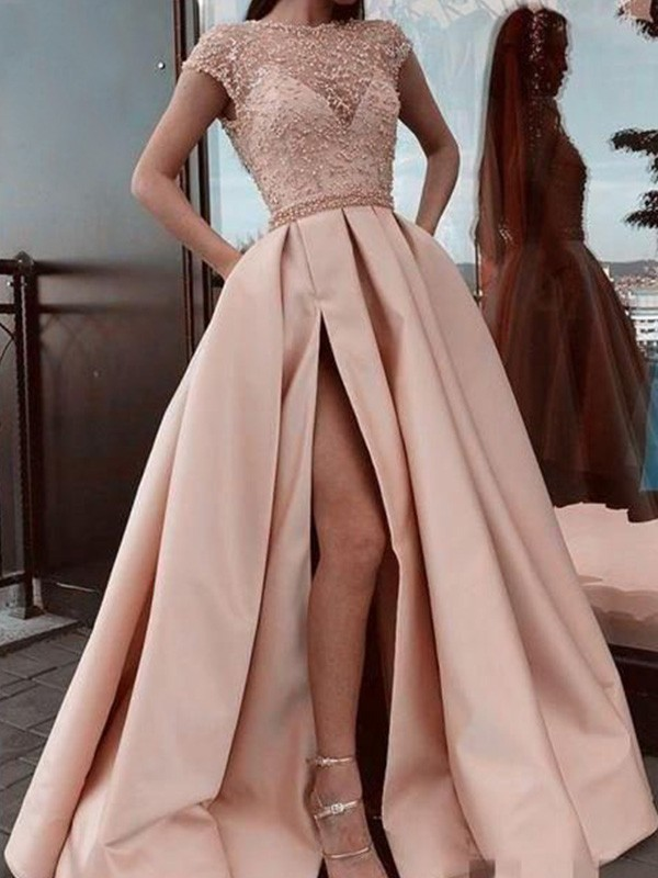 Pretty Looks A-Line Satin Beading Scoop Short Sleeves Long Train Pearl Pink Prom Dresses