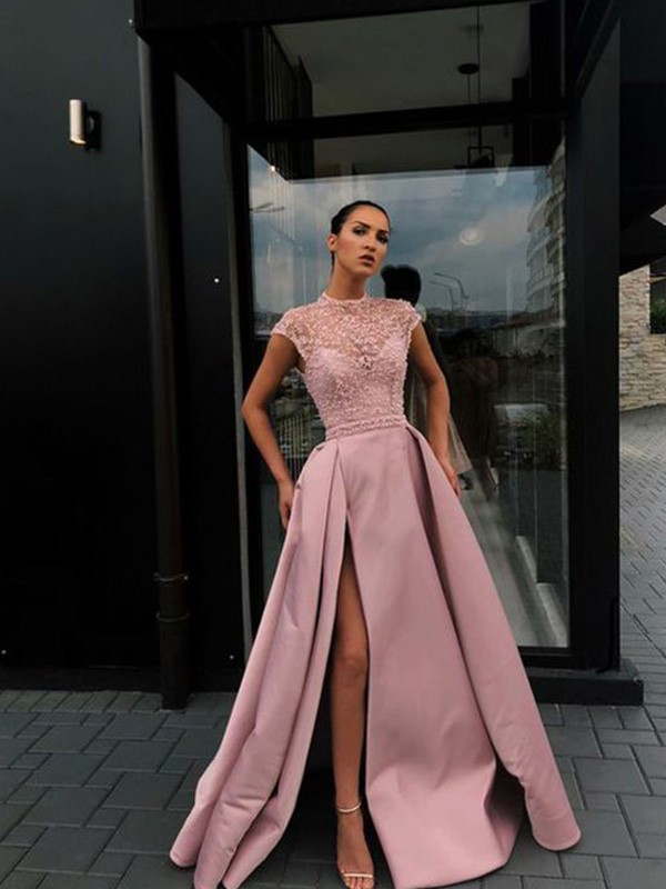 Pretty Looks A-Line Beading Satin Scoop Short Sleeves Long Train Pink Prom Dresses