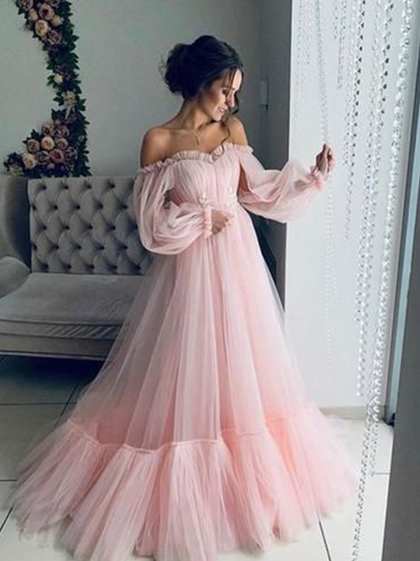 Pretty Looks A-Line Tulle Applique Off-the-Shoulder Long Train Pink Blue Prom Dresses