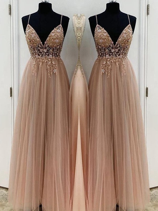 Pretty Looks A-Line Beading Tulle Spaghetti Straps Long Champagne Prom Dresses
