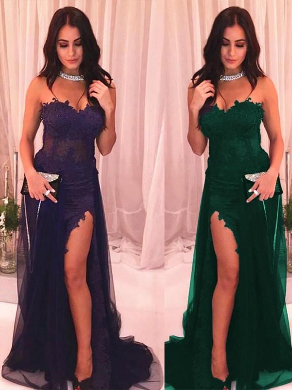 Pretty Looks Trumpet Tulle Applique Strapless Long Train Royal Blue Prom Dresses