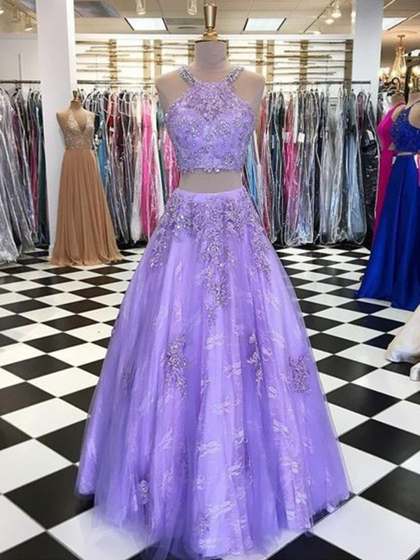 Pretty Looks A-Line Tulle Beading Halter Long Two Piece Lavender Prom Dresses