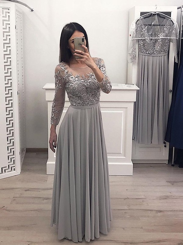 Pretty Looks A-Line Chiffon Applique Scoop Long Grey Prom Dresses