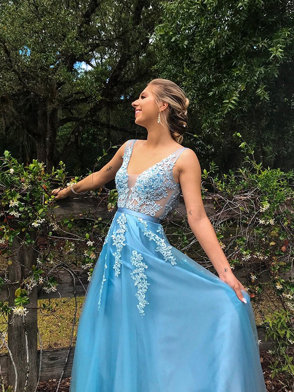Just My Style A-Line V-neck Tulle Applique Long Train Blue Prom Dresses