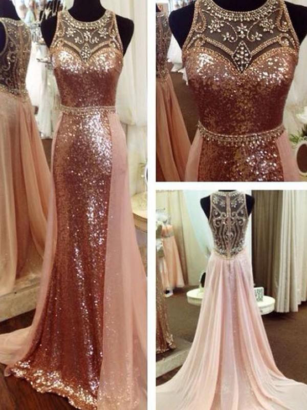 Just My Style A-Line Beading Sequins Scoop Long Train Pink Prom Dresses
