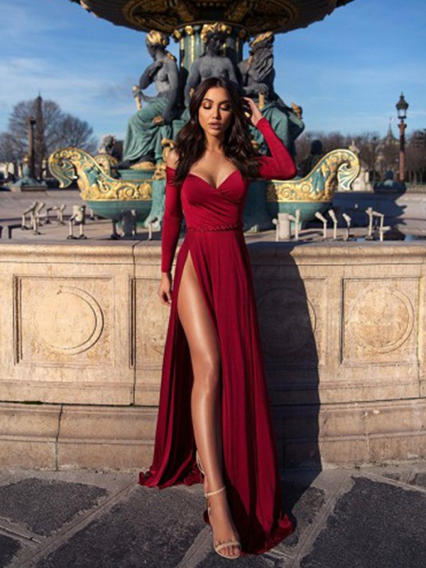 Just My Style A-Line Ruched Off-the-Shoulder Long Train Elastic Woven Satin Burgundy Prom Dresses