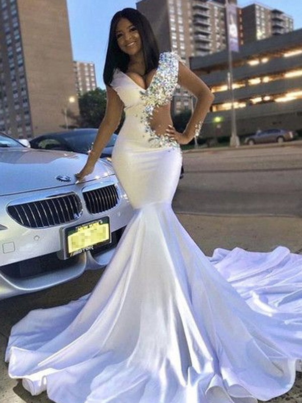 Just My Style Trumpet Elastic Woven Satin Beading V-neck Court Train White Prom Dresses