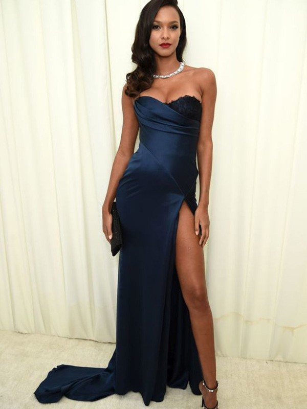 Just My Style A-Line Satin Ruched Long Train Sweetheart Dark Navy Prom Dresses