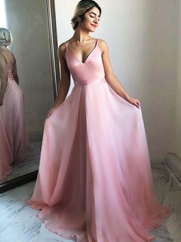 Dancing Queen A-Line Chiffon Ruffles Spaghetti Straps Long Train Pink Prom Dresses