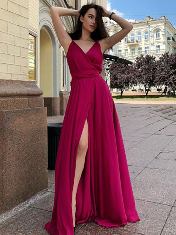 Dancing Queen A-Line Satin Chiffon Spaghetti Straps Ruffles Long Train Burgundy Prom Dresses