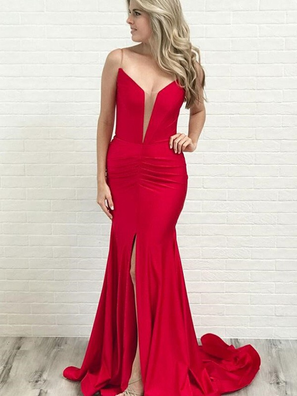 Dancing Queen A-Line Spaghetti Straps Ruched Satin Court Train Red Prom Dresses