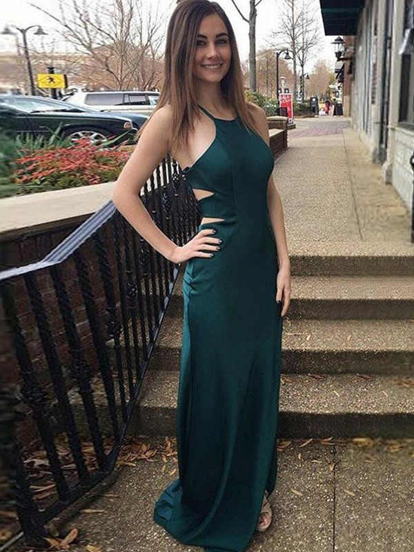 Dancing Queen Sheath Satin Halter Long Train Dark Green Prom Dresses