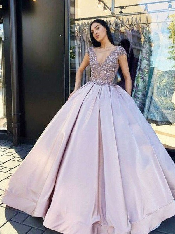 Dancing Queen Ball Gown Satin Beading V-neck Short Sleeves Long Lilac Prom Dresses
