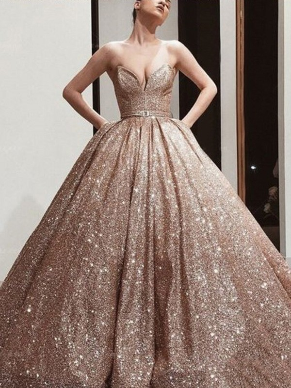 Dancing Queen Ball Gown Sequins Sash/Ribbon/Belt Sweetheart Long Train Champagne Prom Dresses