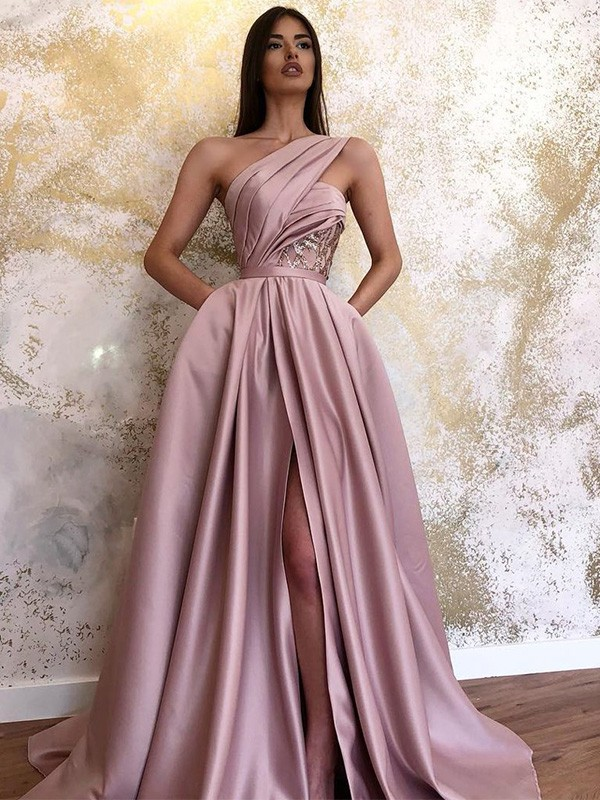 Dancing Queen A-Line Satin Ruched One-Shoulder Long Train Pink Prom Dresses