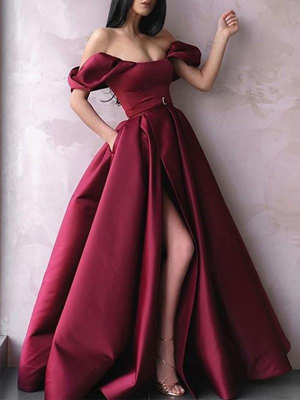 Dancing Queen A-Line Sash/Ribbon/Belt Off-the-Shoulder Satin Long Burgundy Prom Dresses