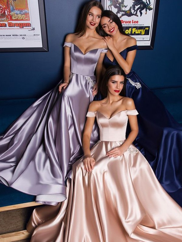 Chic Chic London A-Line Satin Off-the-Shoulder Ruffles Long Train Dark Navy Prom Dresses