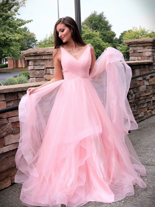 Chic Chic London A-Line Tulle Ruched Long Train V-neck Pink Prom Dresses