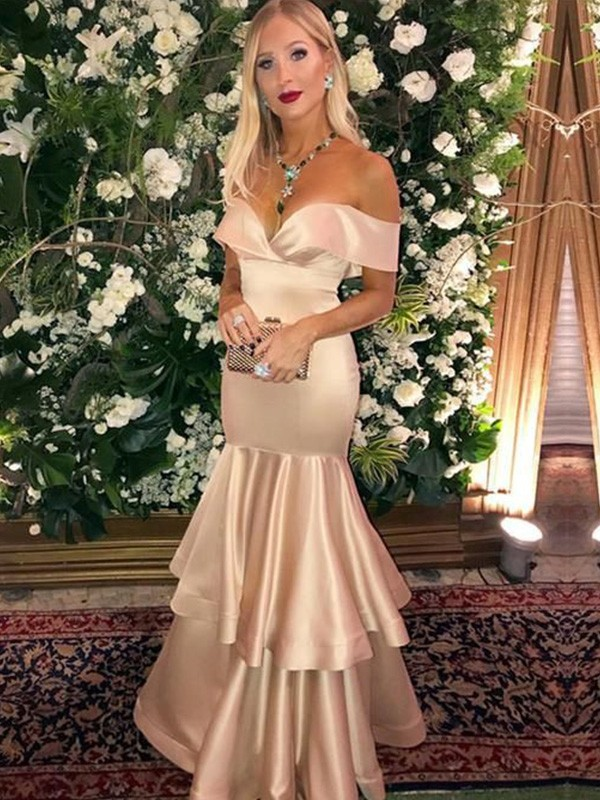 Chic Chic London Trumpet Satin Off-the-Shoulder Layers Long Champagne Prom Dresses