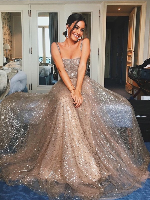 Just My Style A-Line Tulle Paillette Straps Long Train Prom Dresses
