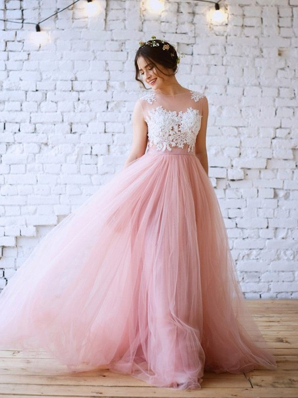 Just My Style A-Line Applique Bateau Tulle Long Train Prom Dresses