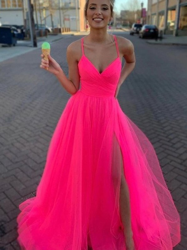 Chic Chic London A-Line/Princess Sleeveless Tulle V-neck Ruched Sweep/Brush Train Prom Dresses