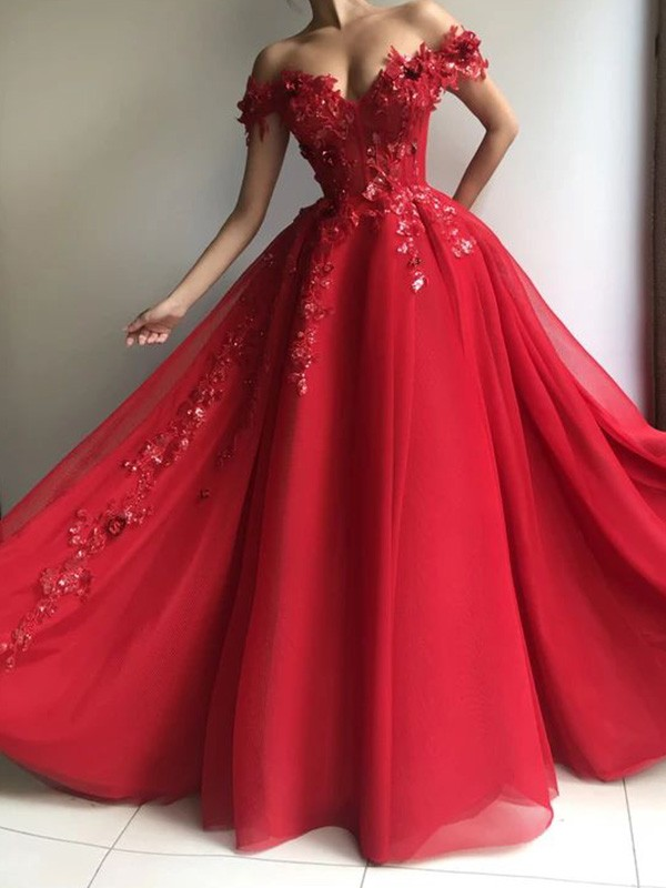 Chic Chic London A-Line/Princess Tulle Off-the-Shoulder Sleeveless Applique Floor-Length Prom Dresses