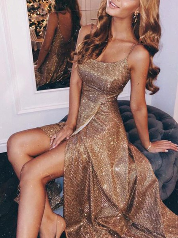 Chic Chic London A-Line/Princess Sequins Spaghetti Straps Ruched Sleeveless Floor-Length Prom Dresses