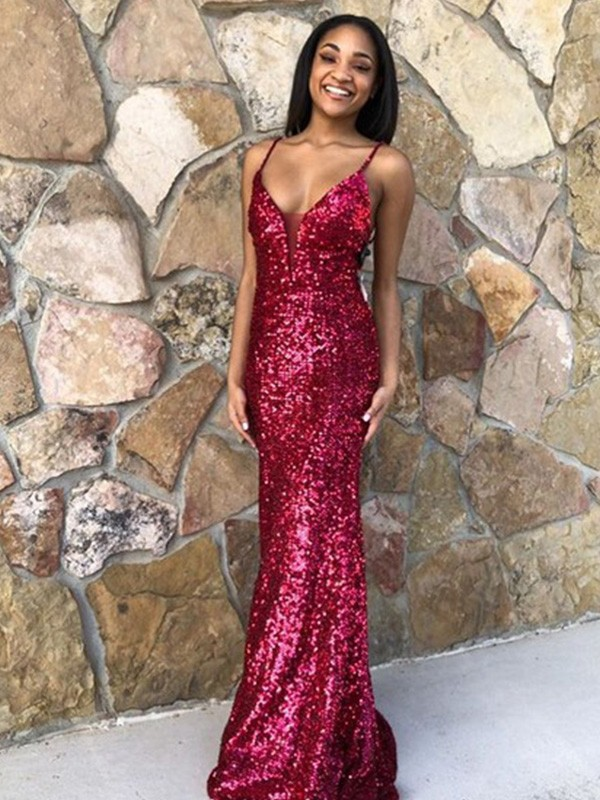 Chic Chic London Trumpet/Mermaid Sequins V-neck Ruffles Sleeveless Sweep/Brush Train Prom Dresses