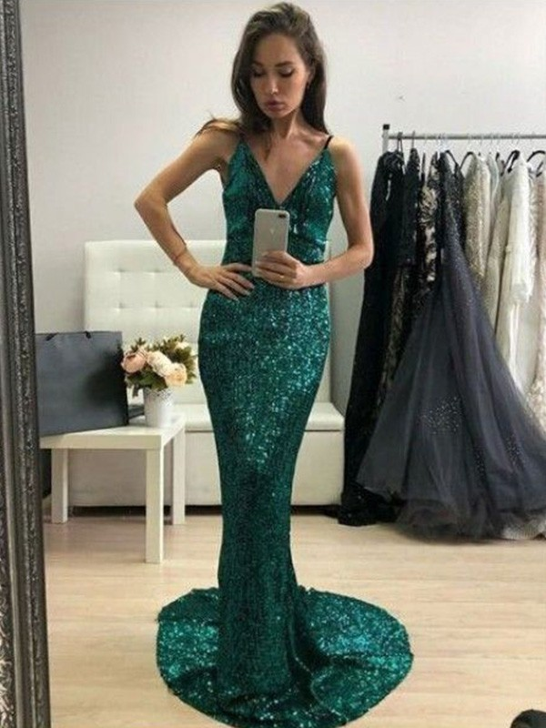 Absolute Lovely Trumpet/Mermaid Sequins V-neck Ruffles Sweep/Brush Train Sleeveless Prom Dresses